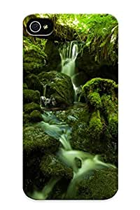 Flexible Tpu Back Case Cover For Iphone 4/4s - Forest Jungle Green Stream Timelapse Moss Fern Rocks Stones