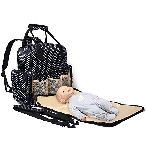 FIGESTIN Upgraded Baby Diaper Backpack Purse Waterproof Anti-theft Mummy Nappy Travel Bag with Changing Pad And Stroller Straps for Mom and Dad, 14 Pockets, Large Capacity, Luxury Black