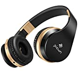 Foldable Wireless Bluetooth Over-Head Stereo Headphones Noise Cancelling Headset P16 with Mic Volume Control Wired Connection(Black)