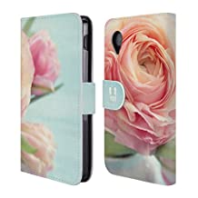 Head Case Designs Pink Peach Roses In A Vase Flowers Leather Book Wallet Case Cover For LG Nexus 4 E960
