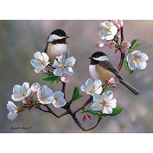Bits and Pieces - 300 Large Piece Jigsaw Puzzle for Adults - Cherry Blossom Chickadees - 300 pc Spring Birds Jigsaw by Artist Russell Cobane