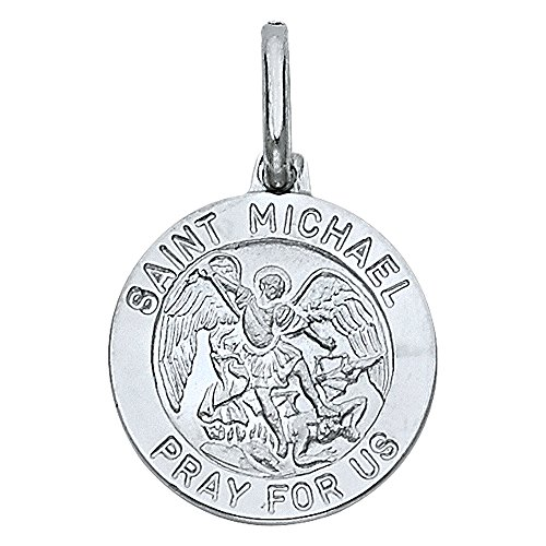 14k White Gold St. Michael Religious Pendant Charm by JewelrySuperMart Collection