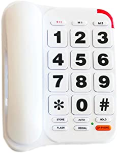 Large Button Phone for Seniors, HePesTer HP-46 Amplified Corded Phone with Louder Volume/Speed Dial/SOS Emergency/Wall Mountable Function …
