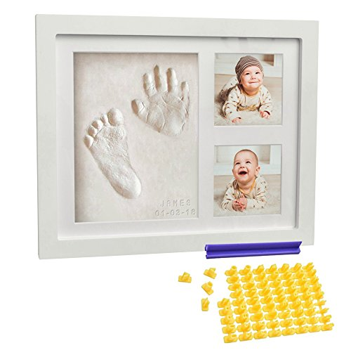 Baby Handprint Kit for Newborn Girls and Boys + FREE Alphabet Stamp - Footprint Frame (WHITE) - Best Photo and Picture Keepsake - With NonToxic Clay - Unique Shower Gifts Set – Decoration Ornament