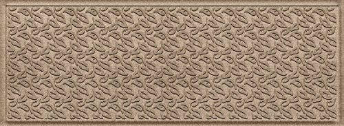 Bungalow Flooring Waterhog Indoor/Outdoor Runner Rug, 22 x 60 inches, Skid Resistant, Easy to Clean, Catches Water and Debris, Dogwood Leaf Collection, Khaki/Camel ()