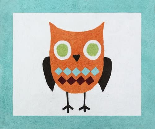 Turquoise and Lime Hooty Owl Accent Floor Rug