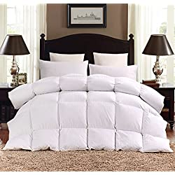 ROSECOSE Luxurious Heavy Goose Down Comforter Queen Size Duvet Insert Classic Stripe All Seasons 1200 Thread Count 750+ Fill Power 100% Cotton Hypo-allergenic With Tabs (Queen, Classic Stripe)