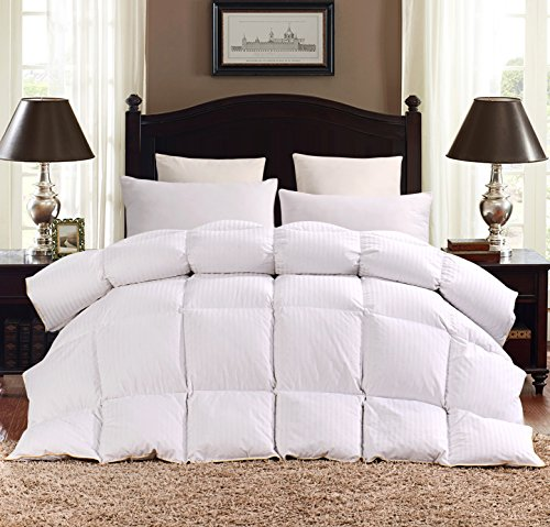 ROSECOSE Luxurious Heavy Goose Down Comforter King Duvet Insert All Seasons Hypo-allergenic 1200 Thread Count 750+ Fill Power 100% Cotton With Tabs Classic Stripe (King, Classic Stripe) (Down Insert King)