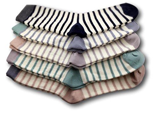 GYT 5 Pairs Soft Cotton Crew Socks, Cute Elegance Pastel Stripes Print Women Teen Girl Socks, Birthday Easter Gifts (Pastel - Cute Pastel