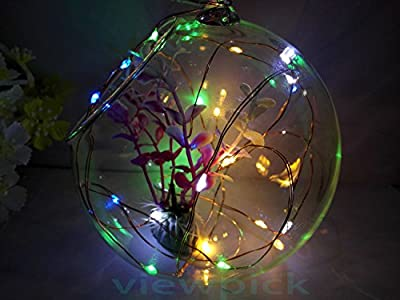 Viewpick led string light silver coated battery operated led copper wire lights