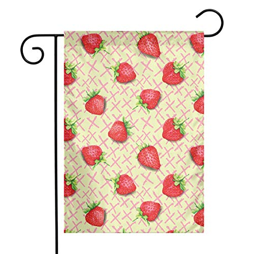 UZQKWFThLX Polyester Garden Flag Strawberry Pattern House Flag