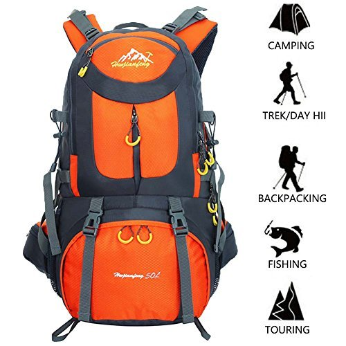 50L Hiking Backpack Climbing Camping Backpack Waterproof Mountaineering Bag Travel Outdoor Sport Pack(45+5)
