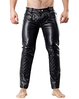 New Genuine Leather JEANS Slim Fit Five pockets skinny Button Fly Mens fetish