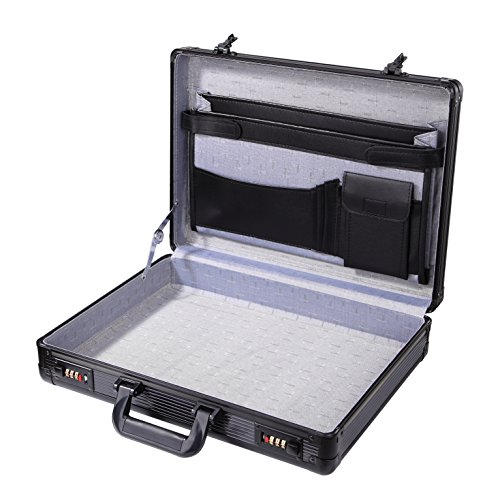 Aluminum Hard Case Flight Black Briefcase Interior Organizer Pocket with Dual Combination Locks ,17.4''L,12.4''W ,3.54''H