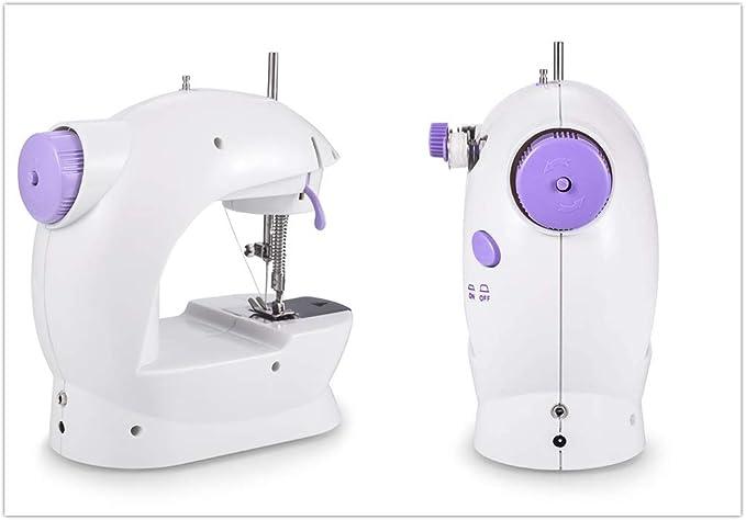WeFoonLo Doble velocidad portátil Mini máquina de coser con mesa de luz y extensión Para principiantes Travel Kids, 6 x bobinas + pedal + adaptador de corriente + aguja + enhebrador: Amazon.es: Hogar