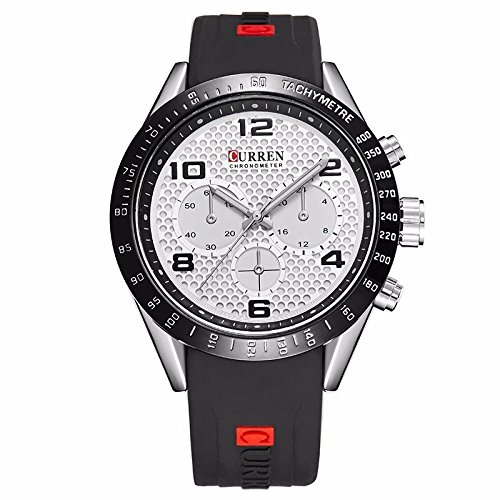 Luxury Quartz Analog Watch Wrist Men's Sports Fashion Military Army (Black&White)