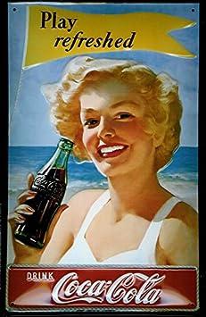 Coca-Cola Cartel de chapa - Play enfriadora - 20 x 30 cm ...
