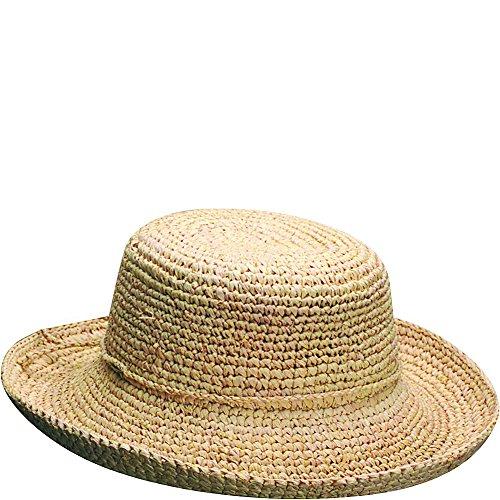 Scala Women's Crocheted Packable Raffia Hat,Natural,55cm
