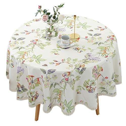 Heavy Duty Elegant Printed Tablecloth - Spillproof Fabric Lace Table Cloth - Round Table Cover for Dining Room Kitchen Home Decor (43