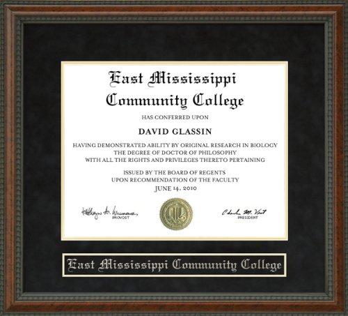 Wordyisms East Mississippi Community College (EMCC) Walnut Burl Diploma Frame from Wordyisms