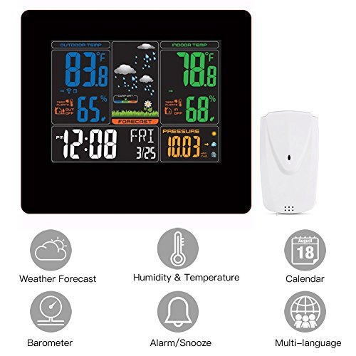 Wireless Color Home Weather Station with Large Display and Atomic Clock, Digital Thermometer with Indoor/Outdoor Temperature, Home Alarm Clock with Temperature and Humidity Monitor, Digital Tabletop H