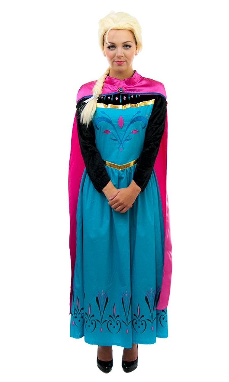 Adult Royal Elsa Coronation Dress with Cape + Wig - Large: Amazon.co ...