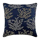 "Designer Navy Blue Pillow Shams, Beaded Sea Weeds Sea Creatures Ocean and Beach Theme Pillow Sham, 24""x24"" Pillow Shams, Square Cotton Linen Shams, Mediterranean Pillow Shams - Sea Weeds Swim"
