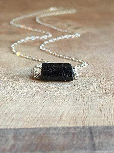 Necklace 18 sterling chain Boho Chic Natural Stone Pendant Natural stone Natural Black Tourmaline Sterling silver Pendant Necklace