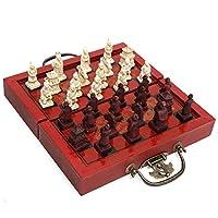 XuBa チェス 木製チェスボード 中国軍のスタイル 国際的な 32個の テラコッタの戦士のチェスの 模造古代の テラコッタの戦士_200×200MMの商品画像