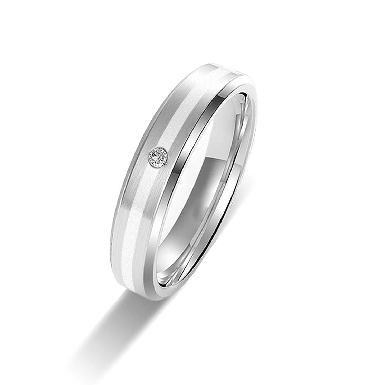 Amtier Titanium Siver Couple Wedding Engagement Band Rings 5MM for Men Women T4JtnPw