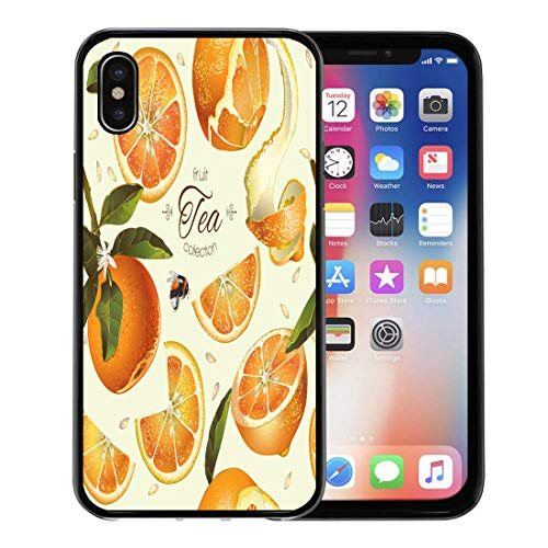 (Emvency Phone Case for Apple iPhone Xs Case/iPhone X Case,Juice Orange Tea for Natural Cosmetics Bakery Filling Grocery Soft Rubber Border Decorative, Black)