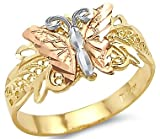 Size- 7 - 14k Tri Color Yellow White and Rose Gold Butterfly Ring