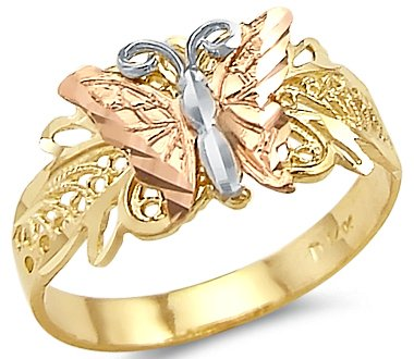 - Size- 8 - 14k Tri Color Yellow White and Rose Gold Butterfly Ring