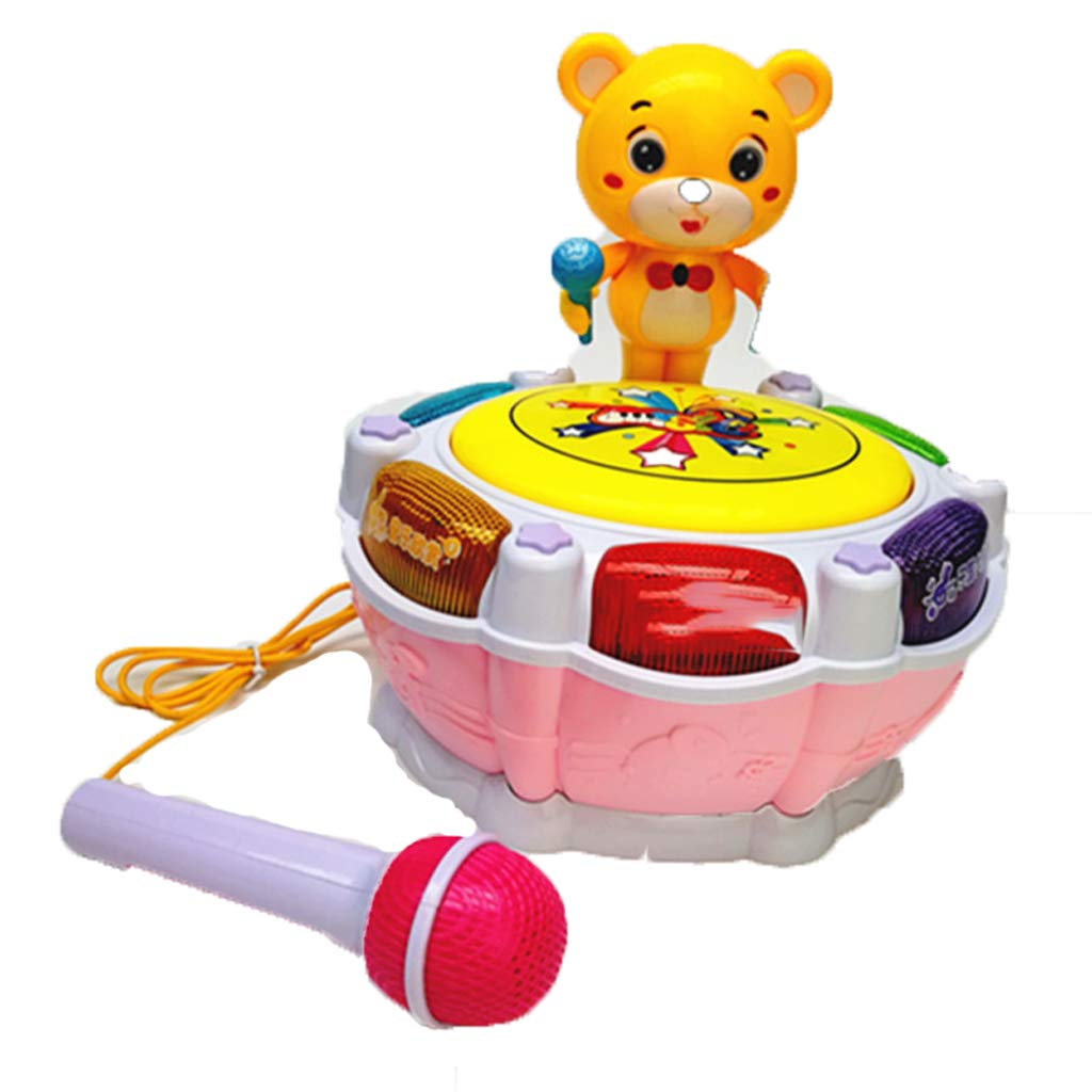 LIPENG-TOY Children's Music Bear Dance Drum Baby Puzzle Early Education Pat Drum Can Be Charged with Microphone Parent-Child Interactive Toys (Color : Pink)
