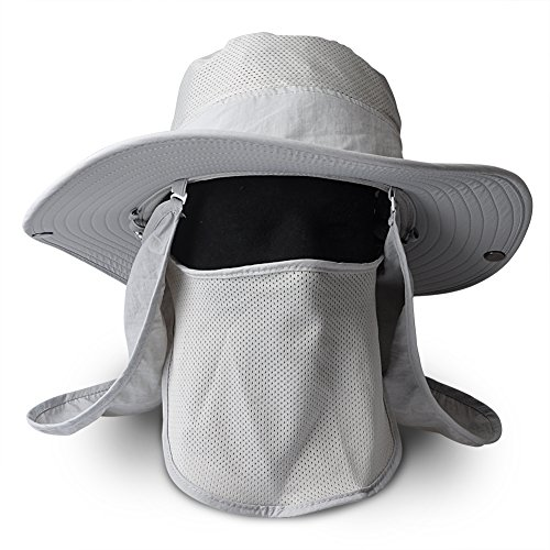 Fish UV 50+ Protection Outdoor Multifunctional Flap Hat Neck Protection Cap for Fishing Hiking Garden Work Outdoor Activities (Light-grey)