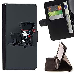 Jordan Colourful Shop - pirate art skull hacker parrot black For Apple Iphone 5 / 5S - Leather Case Absorci???¡¯???€????€???????&bdqu