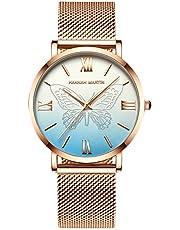 RORIOS Dam analog kvarts klocka fjäril klocka rostfritt stål nätrem mode kvinnor armbandsur