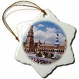3dRose Danita Delimont - Spain - Spain, Andalusia, Seville. Plaza de Espana scenic. - 3 inch Snowflake Porcelain Ornament (orn_277897_1)