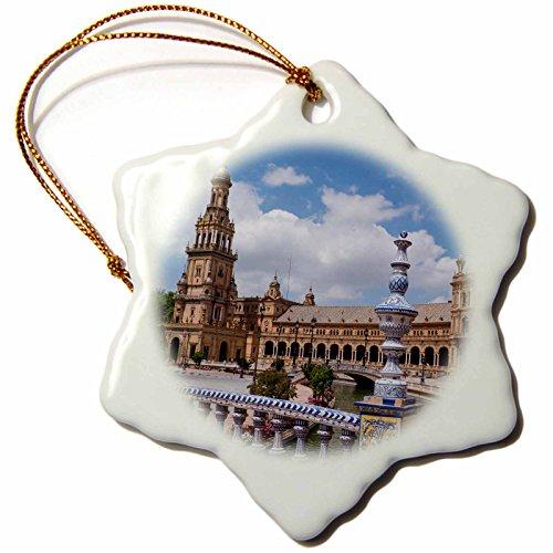 3dRose Danita Delimont - Spain - Spain, Andalusia, Seville. Plaza de Espana scenic. - 3 inch Snowflake Porcelain Ornament (orn_277897_1) by 3dRose