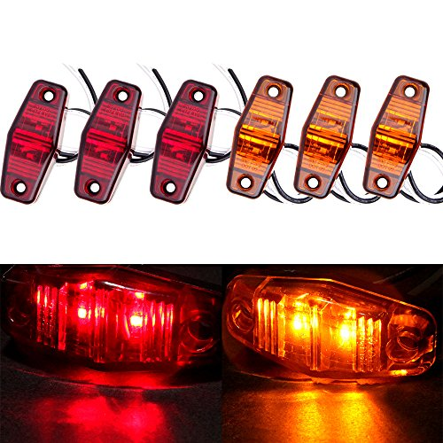 (cciyu Set of 6pcs Side Fender Marker Red/Amber Universal Surface Mount LED Light Repeaters)