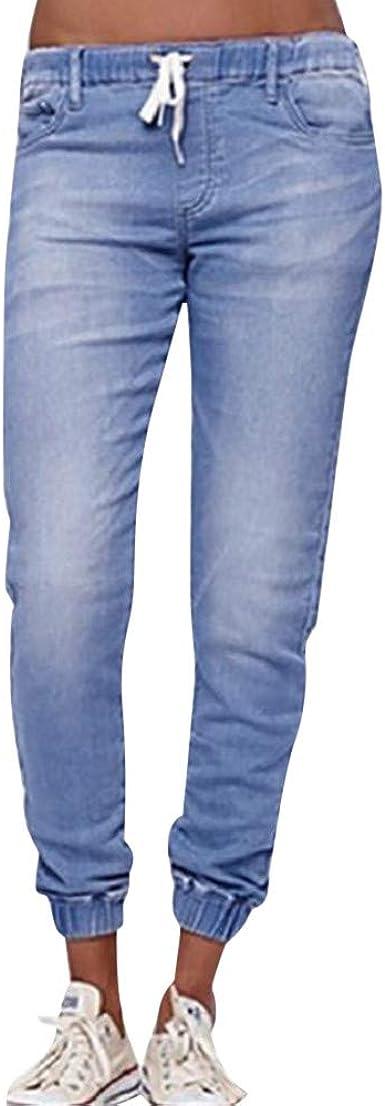 Strir Vaqueros Rotos Mujer Vaqueros Mujer Tallas Grandes Vaqueros Altos Ajustados Pantalones Tejanos Largos Mujer Anchos Casual Straight Skinny Drawstring Amazon Es Ropa Y Accesorios