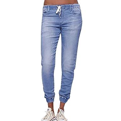 HCFKJ Mujer Ropa Elastico Fitness Invierno Moda Casual Sexy OtoñO EláStico Plus Jeans Sueltos Casual Lazo Plus Recortados Pantalones Vaqueros