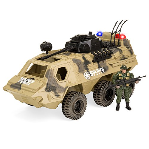 Best Choice Products Military Fighter Toy Tank Truck w/ Army Soldier, Lights, Sound Play Set -