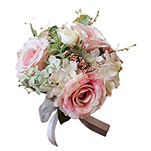 TOPMAX Roses Hand Bouquet Bridal Bridesmaid Artificial Flowers Wedding (Pink) 43