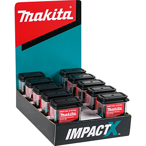 - Makita A-97330-10 Impactx 2 Square Recess 1″ Insert Bit, 10 x 25 Pack, Display