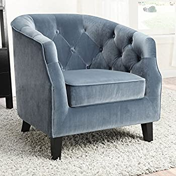 Coaster 902711-CO Velvet Upholstered Tufted Accent Chair, Dusty Blue