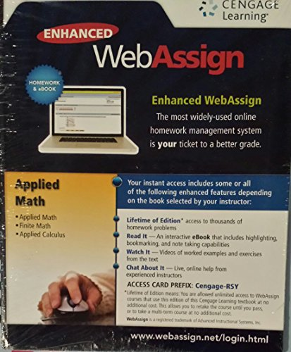 Enhanced Webassign: Applied Math, Finite Math and Applied Calculus