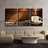 wall26 3 Piece Canvas Wall Art - Coffee Cup and Coffee Beans on Old Wooden Table - Modern Home Decor Stretched and Framed Ready to Hang - 16''x24''x3 Panels