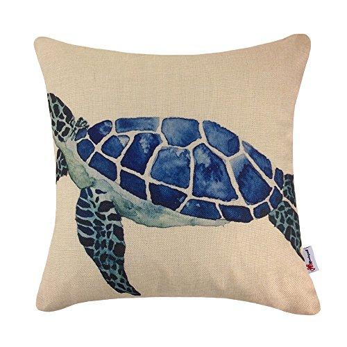 Monkeysell Mediterranean styleThe turtle design pillowcases Home decoration Cotton linen square decoration fashion the pillowcase - 18