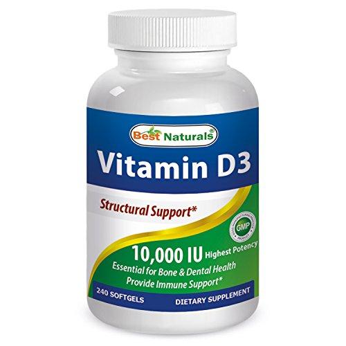 Best Naturals Vitamin D3 10000 Iu for Stronger & Healthier Bones, 240 Count